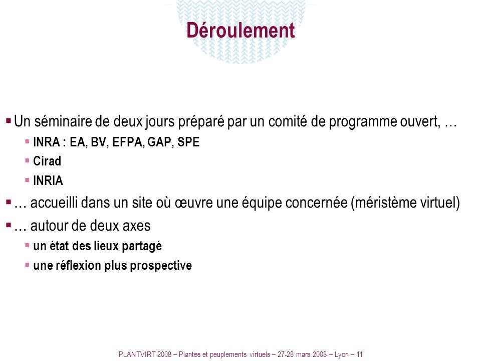 PLANTVIRT 2008 – Plantes et peuplements virtuels – 27-28 mars 2008 – Lyon – 11 Déroulement Un séminaire de deux jours préparé par un comité de program