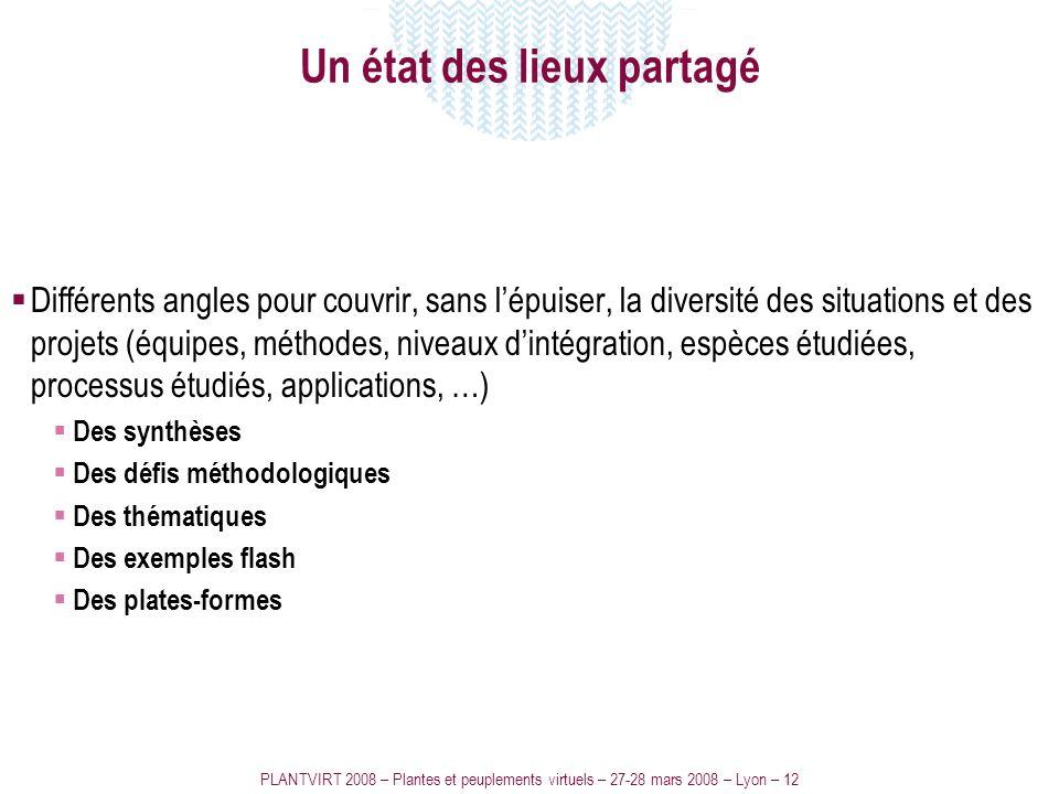 PLANTVIRT 2008 – Plantes et peuplements virtuels – 27-28 mars 2008 – Lyon – 12 Un état des lieux partagé Différents angles pour couvrir, sans lépuiser
