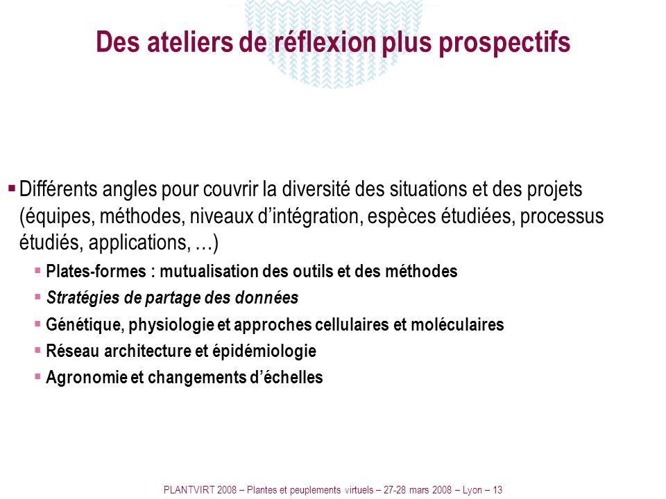PLANTVIRT 2008 – Plantes et peuplements virtuels – 27-28 mars 2008 – Lyon – 13 Des ateliers de réflexion plus prospectifs Différents angles pour couvr