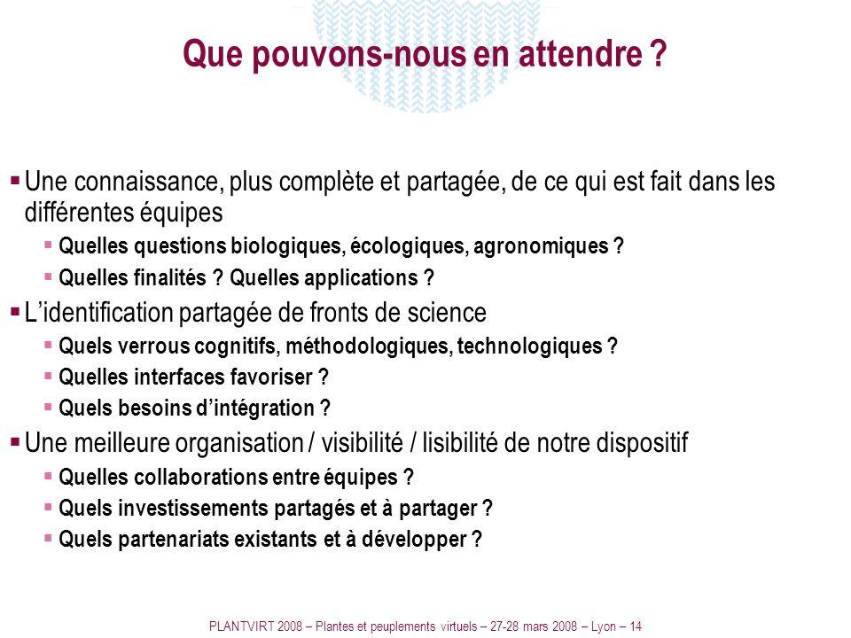 PLANTVIRT 2008 – Plantes et peuplements virtuels – 27-28 mars 2008 – Lyon – 14 Que pouvons-nous en attendre ? Une connaissance, plus complète et parta