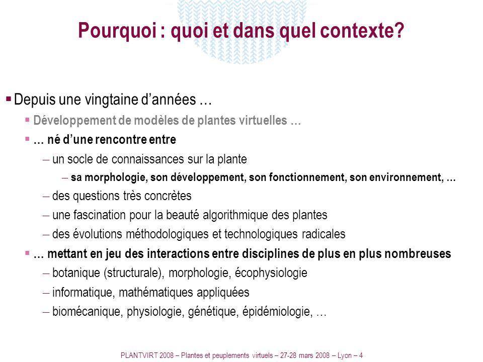 PLANTVIRT 2008 – Plantes et peuplements virtuels – 27-28 mars 2008 – Lyon – 4 Pourquoi : quoi et dans quel contexte? Depuis une vingtaine dannées … Dé