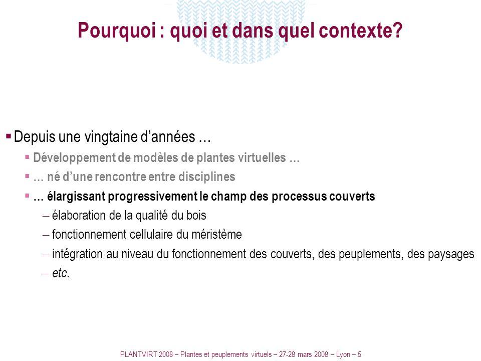 PLANTVIRT 2008 – Plantes et peuplements virtuels – 27-28 mars 2008 – Lyon – 5 Pourquoi : quoi et dans quel contexte? Depuis une vingtaine dannées … Dé