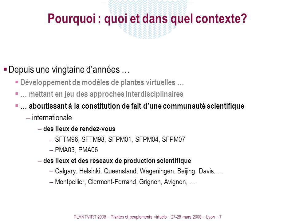 PLANTVIRT 2008 – Plantes et peuplements virtuels – 27-28 mars 2008 – Lyon – 7 Pourquoi : quoi et dans quel contexte? Depuis une vingtaine dannées … Dé