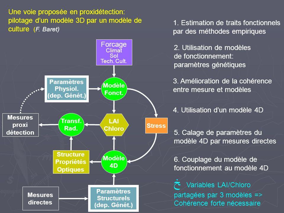 Mesures proxi détection Paramètres Physiol. (dep. Génét.) 1. Estimation de traits fonctionnels par des méthodes empiriques Transf. Rad. Modèle Fonct.