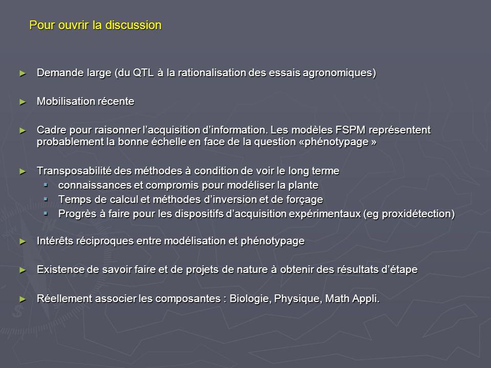 Pour ouvrir la discussion Demande large (du QTL à la rationalisation des essais agronomiques) Demande large (du QTL à la rationalisation des essais ag