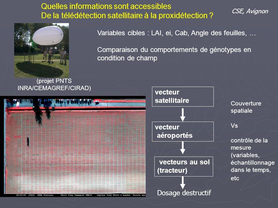 vecteur aéroportés vecteurs au sol (tracteur) Quelles informations sont accessibles De la télédétection satellitaire à la proxidétection ? CSE, Avigno
