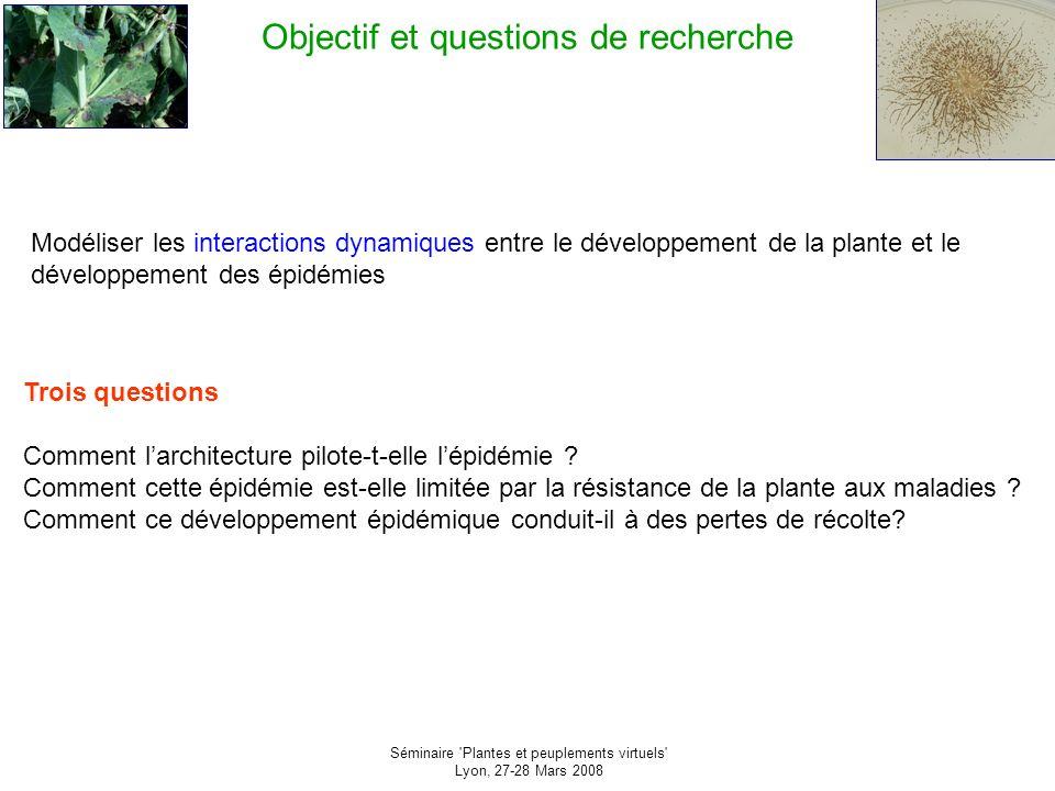 Séminaire Plantes et peuplements virtuels Lyon, 27-28 Mars 2008 La représentation des plantes (0) Une question Comment représenter la plante et le couvert à des fins d utilisation dans la compréhension des phénomènes épidémiologiques.