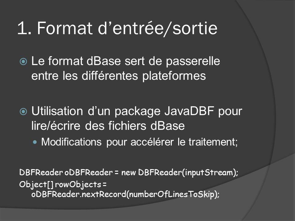 1. Format dentrée/sortie Le format dBase sert de passerelle entre les différentes plateformes Utilisation dun package JavaDBF pour lire/écrire des fic
