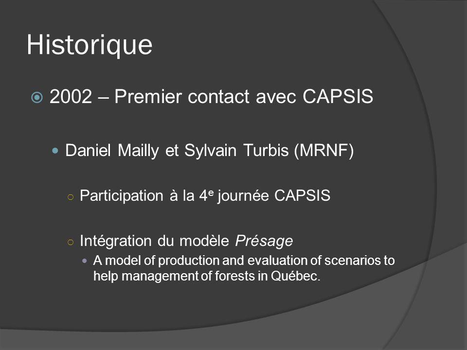 Historique 2002 – Premier contact avec CAPSIS Daniel Mailly et Sylvain Turbis (MRNF) Participation à la 4 e journée CAPSIS Intégration du modèle Présage A model of production and evaluation of scenarios to help management of forests in Québec.
