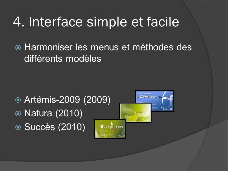 4. Interface simple et facile Harmoniser les menus et méthodes des différents modèles Artémis-2009 (2009) Natura (2010) Succès (2010)