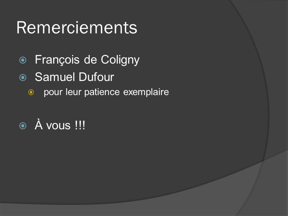 Remerciements François de Coligny Samuel Dufour pour leur patience exemplaire À vous !!!