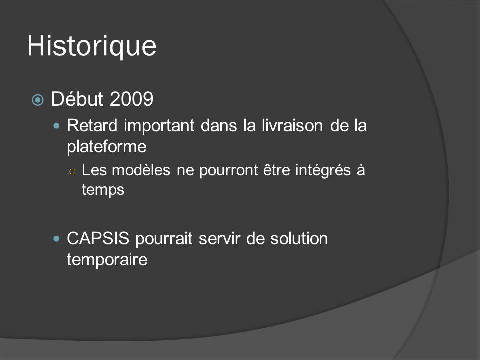 Historique Début 2009 Retard important dans la livraison de la plateforme Les modèles ne pourront être intégrés à temps CAPSIS pourrait servir de solution temporaire