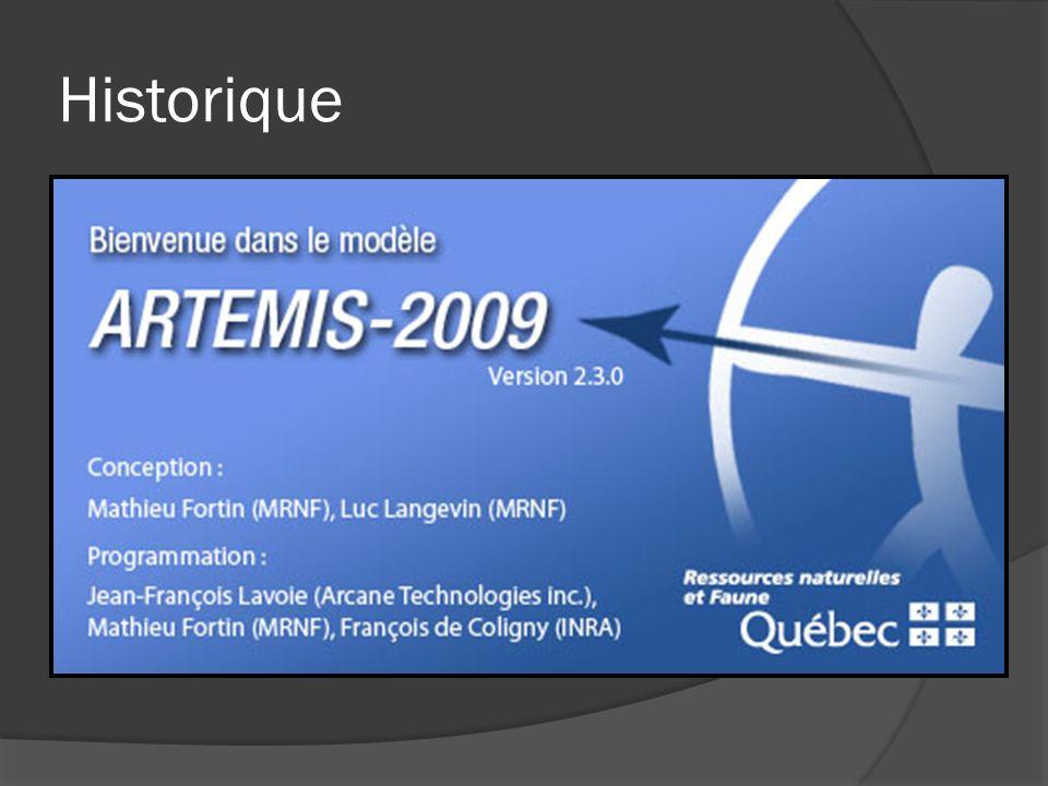 Historique 2009 – Plusieurs nouveaux modules Mathieu Fortin (MRNF) et Jean-François Lavoie (Arcane Technologies) Intégration du module Artémis-2009 A distance-independent tree model for the main potential vegetations in the province of Québec, CANADA.