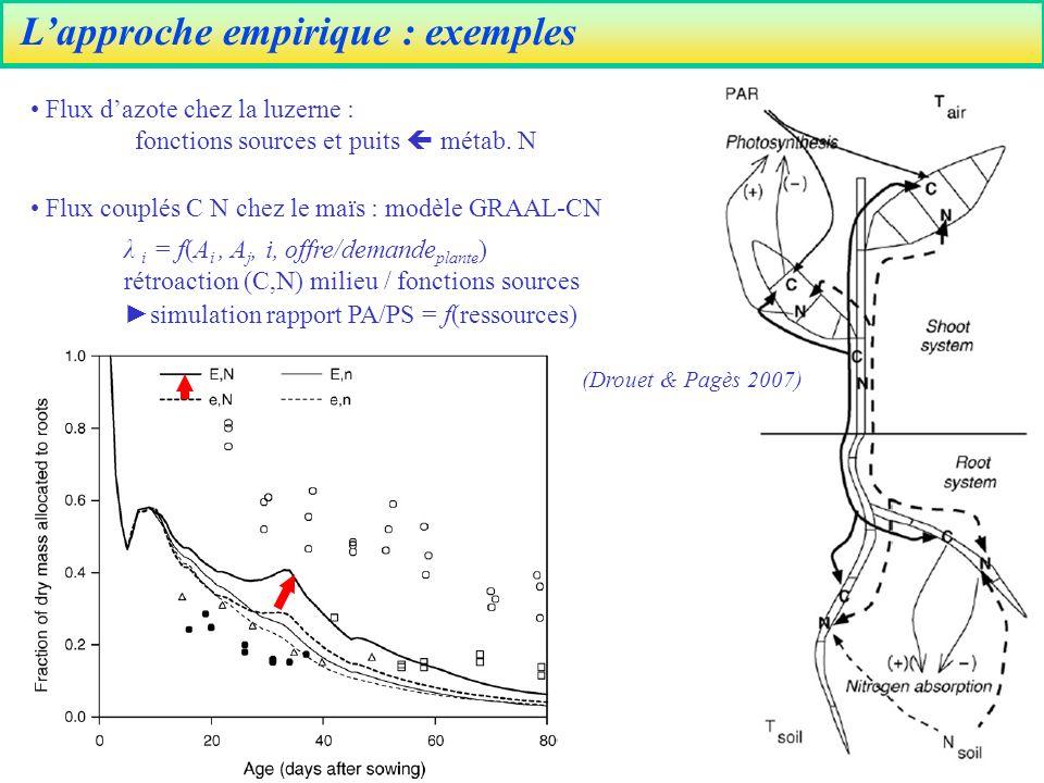 Lapproche empirique : exemples Flux dazote chez la luzerne : fonctions sources et puits métab.