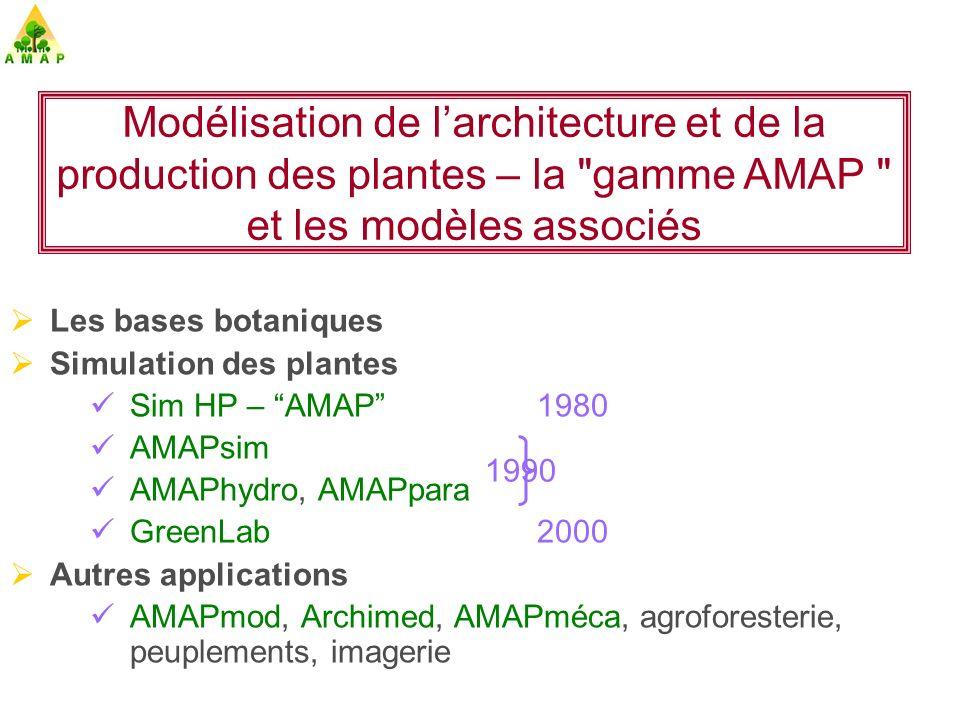 AMAPsim Simulation de lOrganogénèse et de la géométrie des Plantes (Barczi, Barthélémy, Caraglio, Dinouard, de Reffye, Rey …) 1993 Pin dAlep Caféier, Merisier Tabac, Cotonnier Simulation des plantes – 2- 3