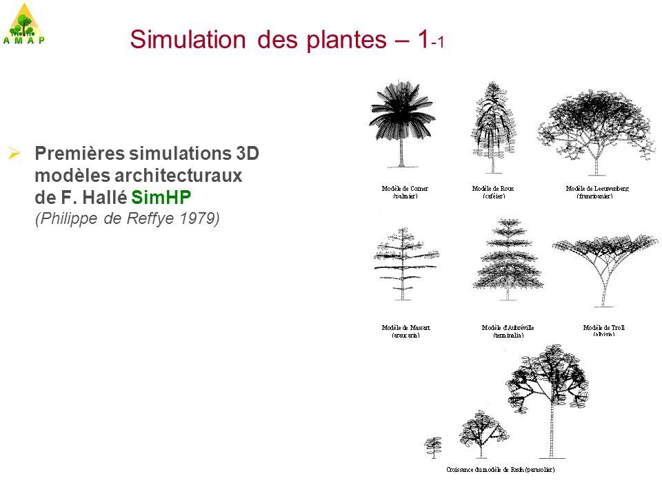 Chaine Graphique AMAP 1988 (Jaeger, Dinouard, Lecoustre, de Reffye) Simulation par AMAP Images de synthèse sur les Paysages Simulation des plantes – 1- 2