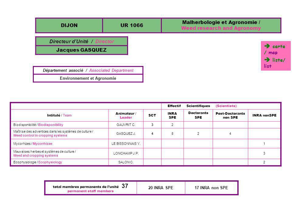 DIJONUR 1066 Malherbologie et Agronomie / Weed research and Agronomy Directeur dUnité / Director Jacques GASQUEZ Département associé / Associated Depa