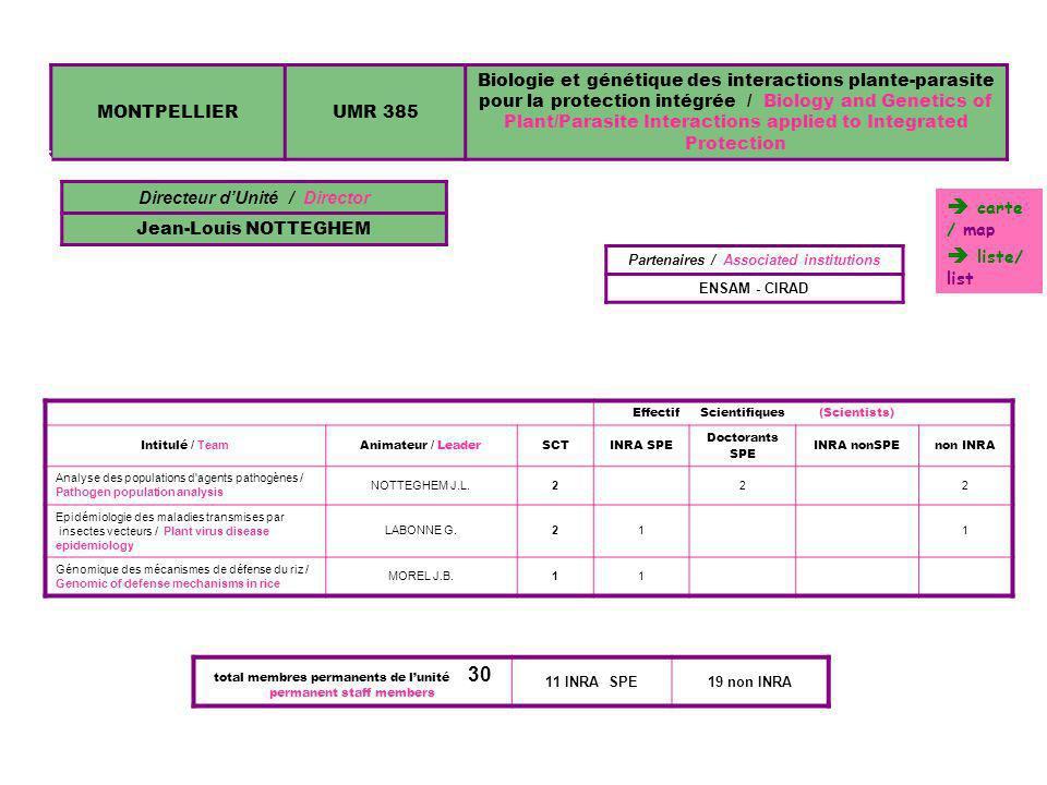 MONTPELLIERUMR 385 Biologie et génétique des interactions plante-parasite pour la protection intégrée / Biology and Genetics of Plant/Parasite Interac