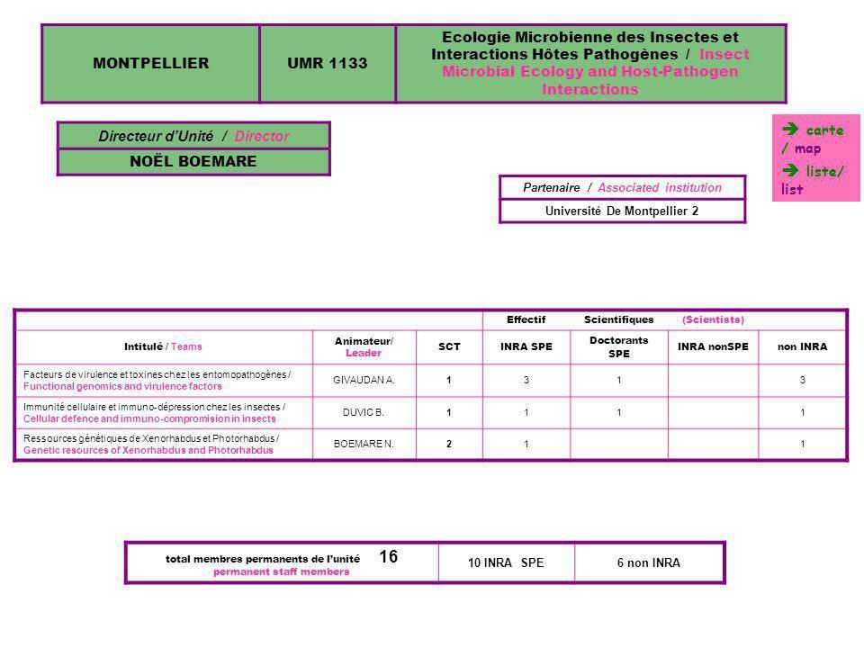 MONTPELLIERUMR 1133 Ecologie Microbienne des Insectes et Interactions Hôtes Pathogènes / Insect Microbial Ecology and Host-Pathogen Interactions Direc