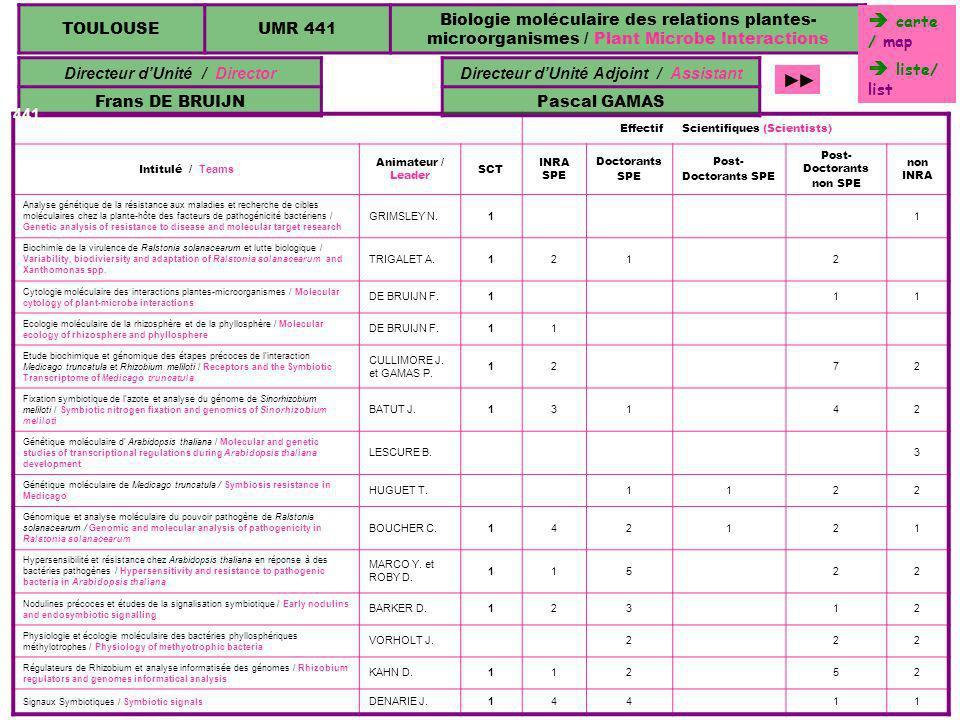 TOULOUSEUMR 441 Biologie moléculaire des relations plantes- microorganismes / Plant Microbe Interactions Directeur dUnité / Director Frans DE BRUIJN E