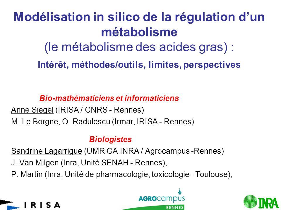 1 Modélisation in silico de la régulation dun métabolisme (le métabolisme des acides gras) : Intérêt, méthodes/outils, limites, perspectives Bio-mathématiciens et informaticiens Anne Siegel (IRISA / CNRS - Rennes) M.