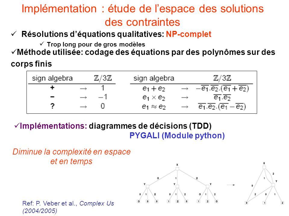 15 Implémentation : étude de lespace des solutions des contraintes Résolutions déquations qualitatives: NP-complet Trop long pour de gros modèles Implémentations: diagrammes de décisions (TDD) PYGALI (Module python) Diminue la complexité en espace et en temps Ref: P.