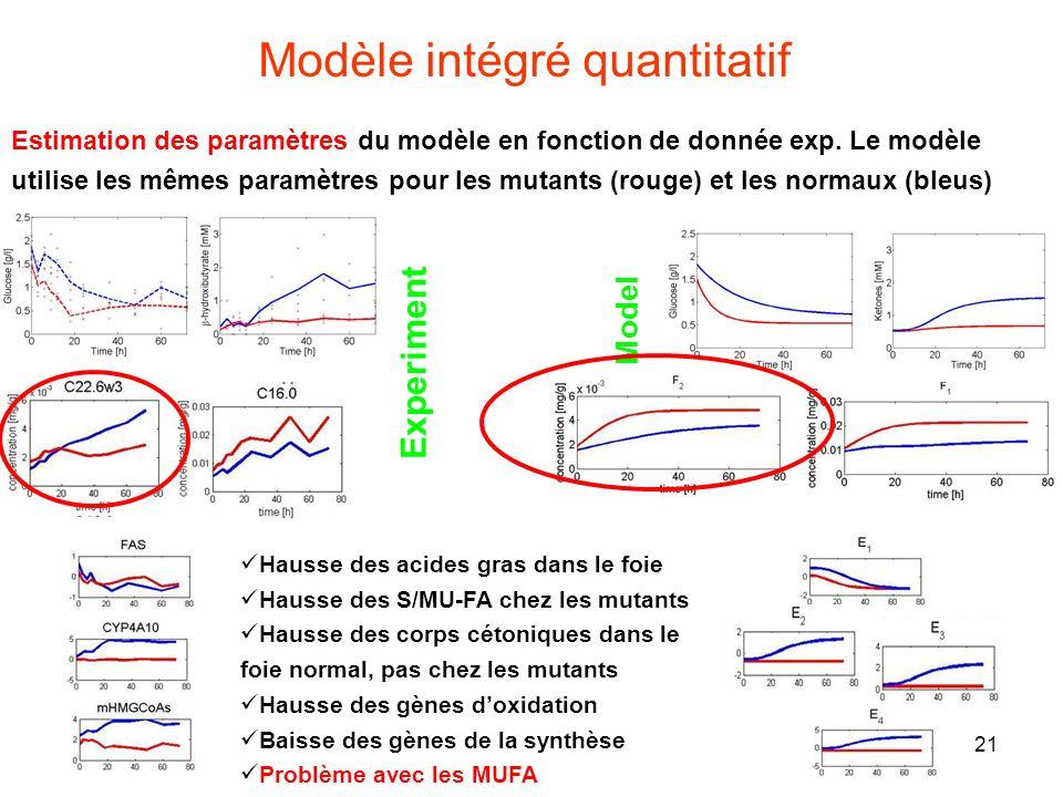 21 Modèle intégré quantitatif Experiment Model Estimation des paramètres du modèle en fonction de donnée exp. Le modèle utilise les mêmes paramètres p