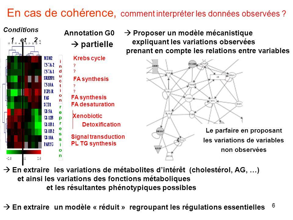 6 En cas de cohérence, comment interpréter les données observées ? Proposer un modèle mécanistique expliquant les variations observées prenant en comp