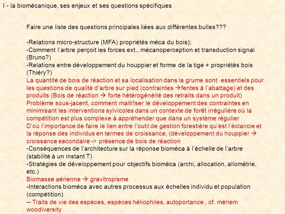 Faire une liste des questions principales liées aux différentes bulles??? -Relations micro-structure (MFA) propriétés méca du bois); -Comment larbre p