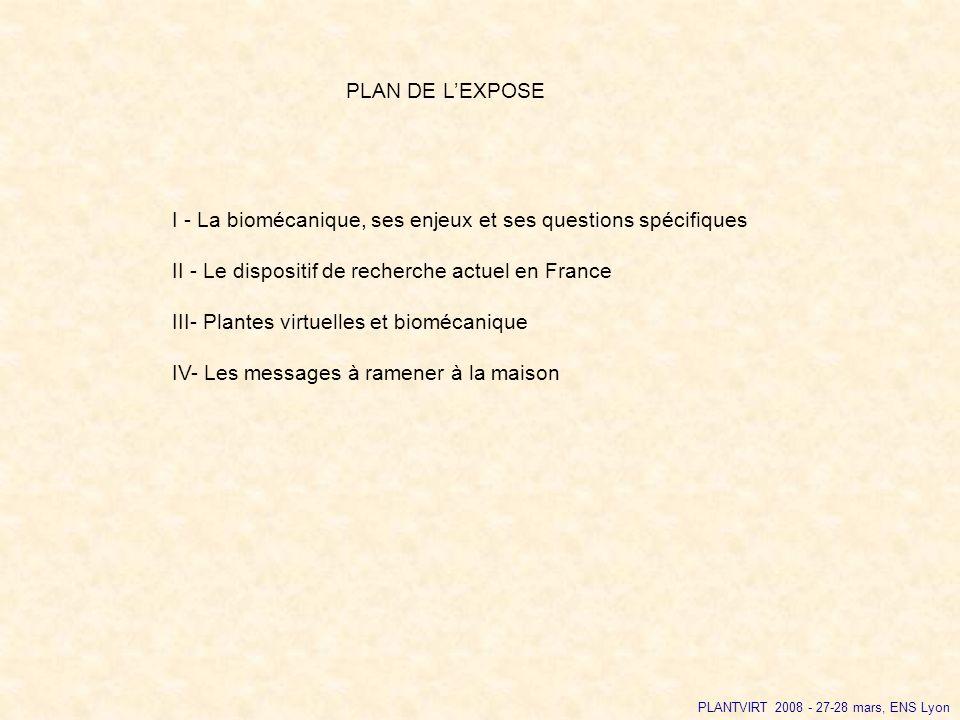I - La biomécanique, ses enjeux et ses questions spécifiques II - Le dispositif de recherche actuel en France III- Plantes virtuelles et biomécanique