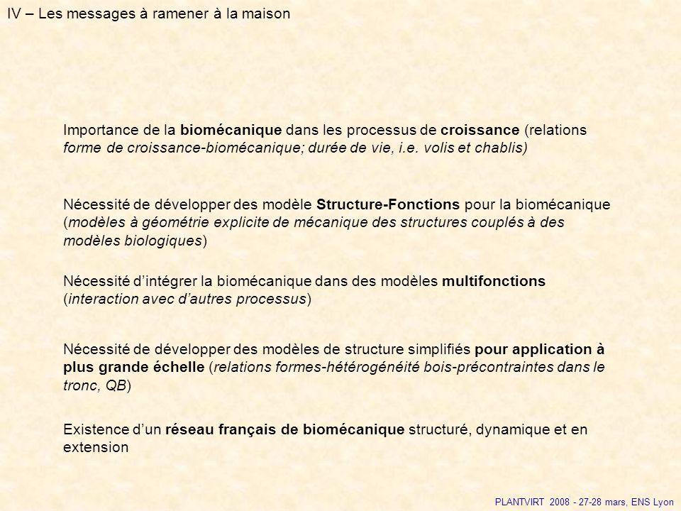 IV – Les messages à ramener à la maison Nécessité dintégrer la biomécanique dans des modèles multifonctions (interaction avec dautres processus) Néces