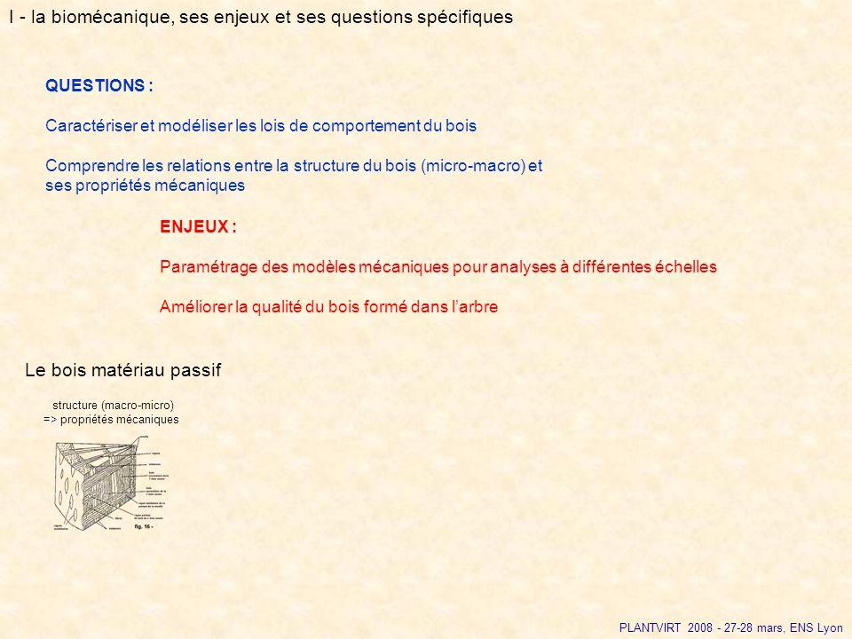 PLANTVIRT 2008 - 27-28 mars, ENS Lyon QUESTIONS : Caractériser et modéliser les lois de comportement du bois Comprendre les relations entre la structu