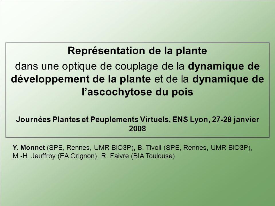 Représentation de la plante dans une optique de couplage de la dynamique de développement de la plante et de la dynamique de lascochytose du pois Journées Plantes et Peuplements Virtuels, ENS Lyon, 27-28 janvier 2008 Y.