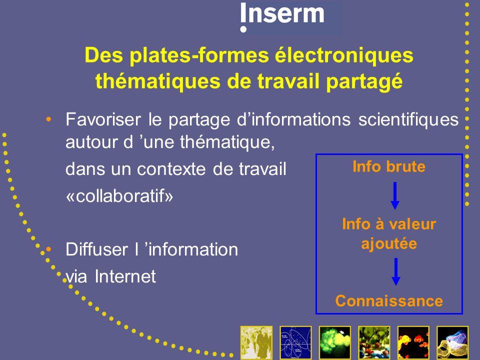 Favoriser le partage dinformations scientifiques autour d une thématique, dans un contexte de travail «collaboratif» Diffuser l information via Internet Des plates-formes électroniques thématiques de travail partagé Info brute Info à valeur ajoutée Connaissance