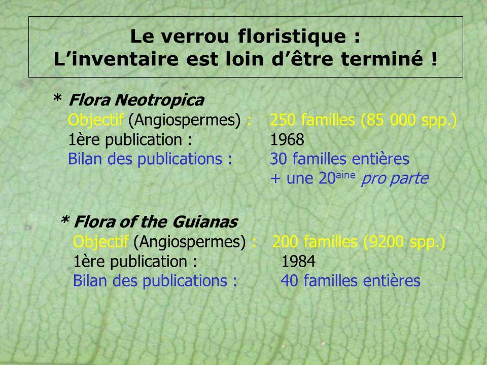 * Flora Neotropica Objectif (Angiospermes) : 250 familles (85 000 spp.) 1ère publication :1968 Bilan des publications :30 familles entières + une 20 a