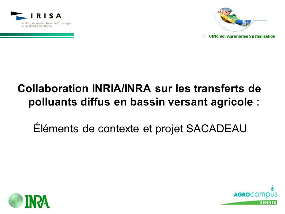Collaboration INRIA/INRA sur les transferts de polluants diffus en bassin versant agricole : Éléments de contexte et projet SACADEAU