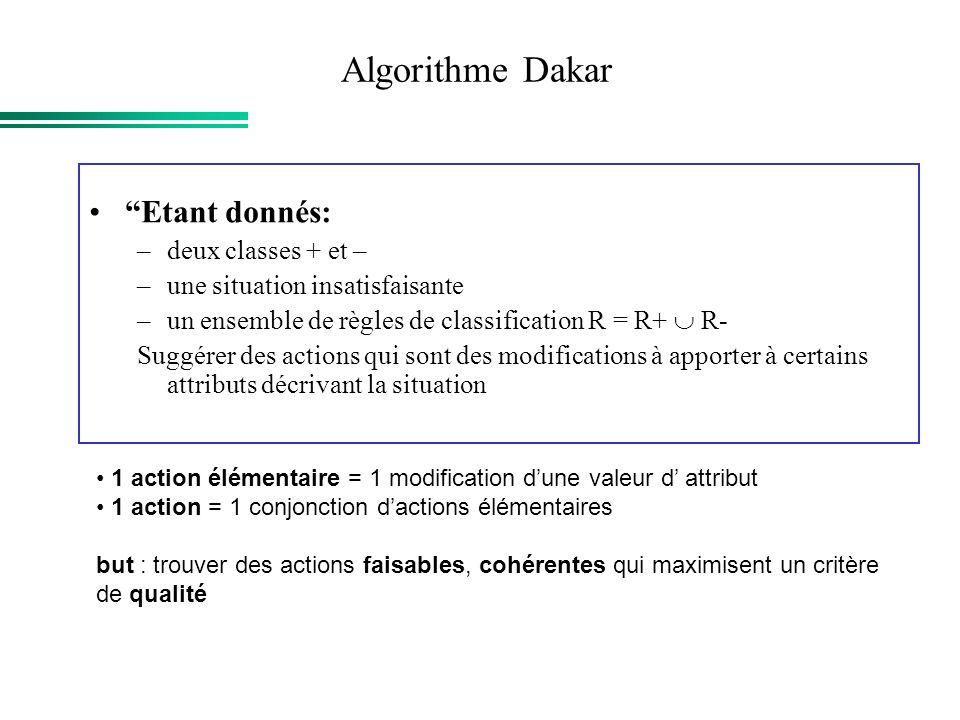 Algorithme Dakar Etant donnés: –deux classes + et – –une situation insatisfaisante –un ensemble de règles de classification R = R+ R- Suggérer des act