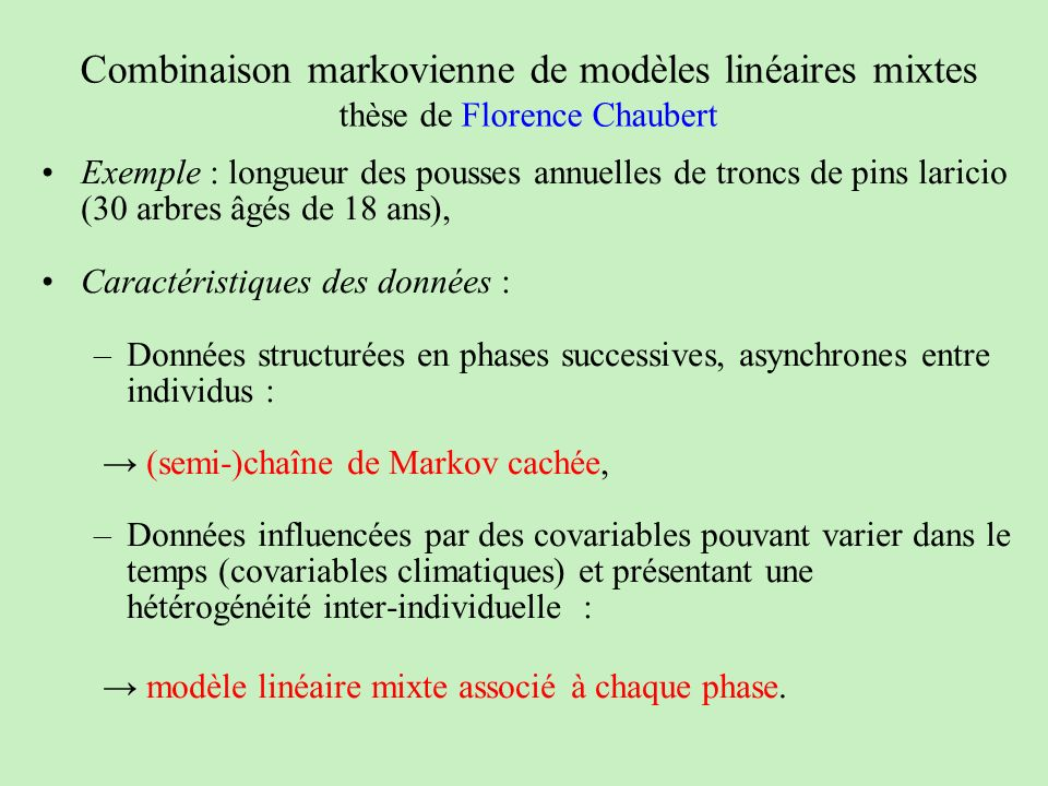 Combinaison markovienne de modèles linéaires mixtes thèse de Florence Chaubert Exemple : longueur des pousses annuelles de troncs de pins laricio (30