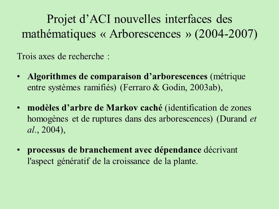 Projet dACI nouvelles interfaces des mathématiques « Arborescences » (2004-2007) Trois axes de recherche : Algorithmes de comparaison darborescences (