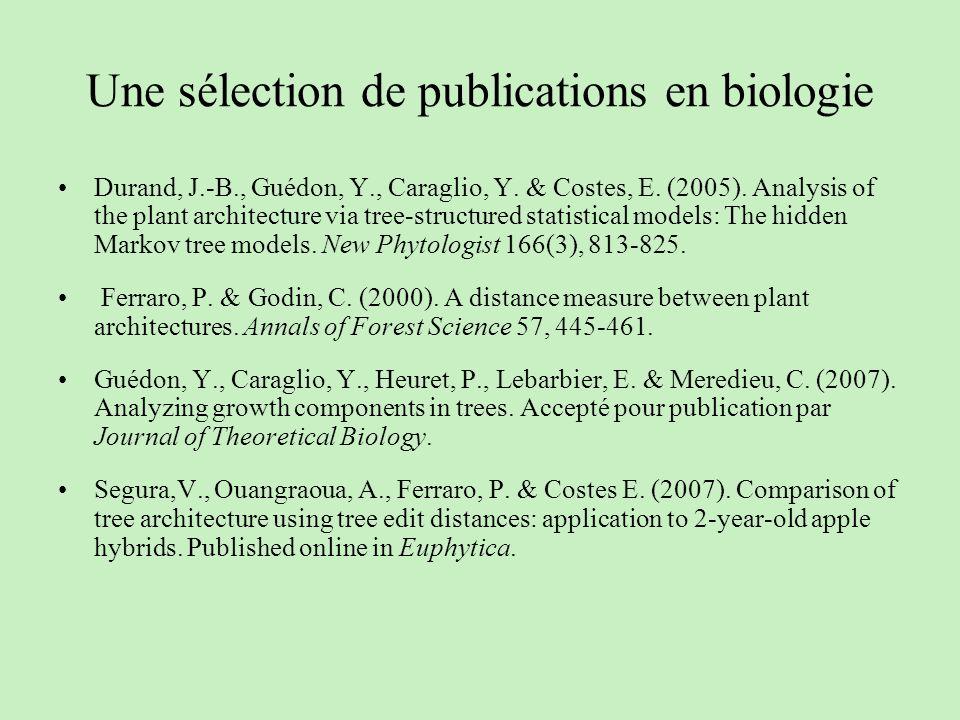 Une sélection de publications en biologie Durand, J.-B., Guédon, Y., Caraglio, Y. & Costes, E. (2005). Analysis of the plant architecture via tree-str
