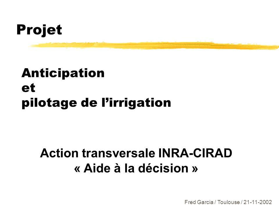 Anticipation et pilotage de lirrigation Action transversale INRA-CIRAD « Aide à la décision » Projet Fred Garcia / Toulouse / 21-11-2002