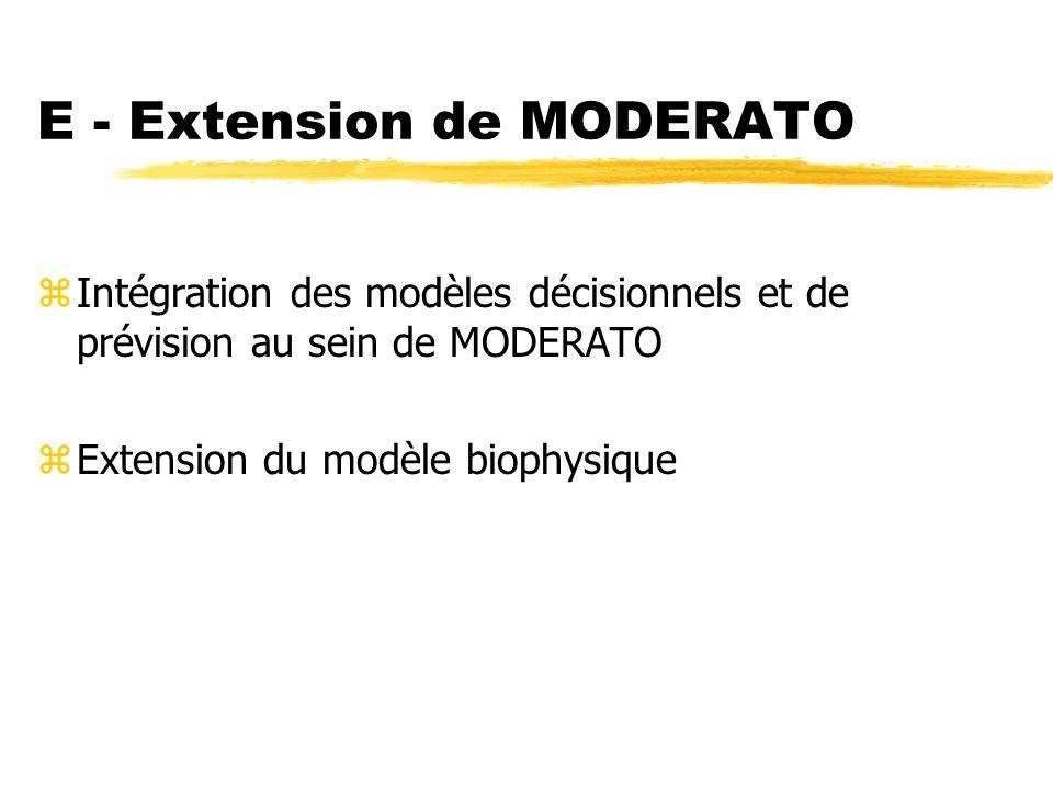 E - Extension de MODERATO zIntégration des modèles décisionnels et de prévision au sein de MODERATO zExtension du modèle biophysique