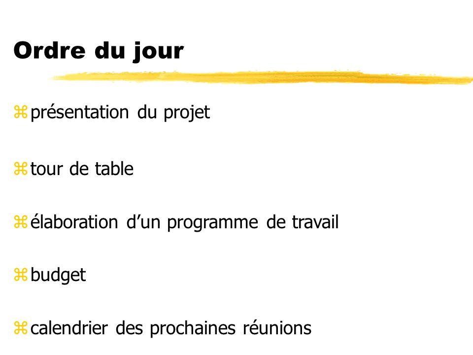 Ordre du jour zprésentation du projet ztour de table zélaboration dun programme de travail zbudget zcalendrier des prochaines réunions