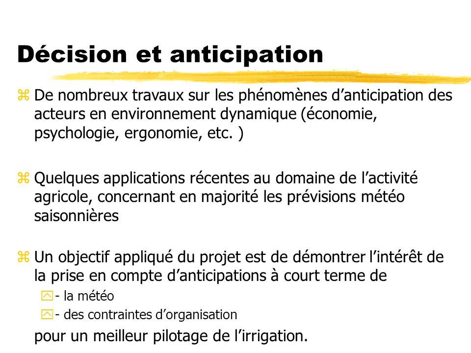 Décision et anticipation zDe nombreux travaux sur les phénomènes danticipation des acteurs en environnement dynamique (économie, psychologie, ergonomie, etc.