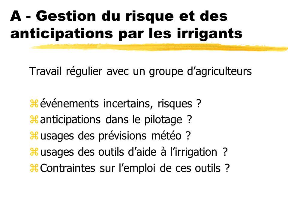A - Gestion du risque et des anticipations par les irrigants Travail régulier avec un groupe dagriculteurs zévénements incertains, risques .