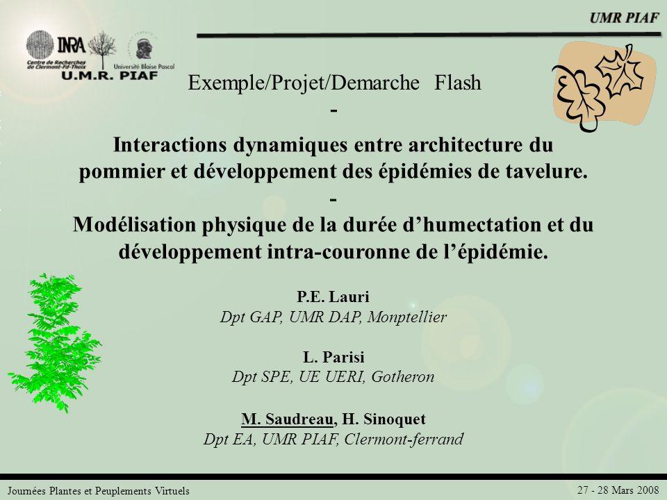 Journées Plantes et Peuplements Virtuels 27 - 28 Mars 2008 P.E. Lauri Dpt GAP, UMR DAP, Monptellier L. Parisi Dpt SPE, UE UERI, Gotheron M. Saudreau,