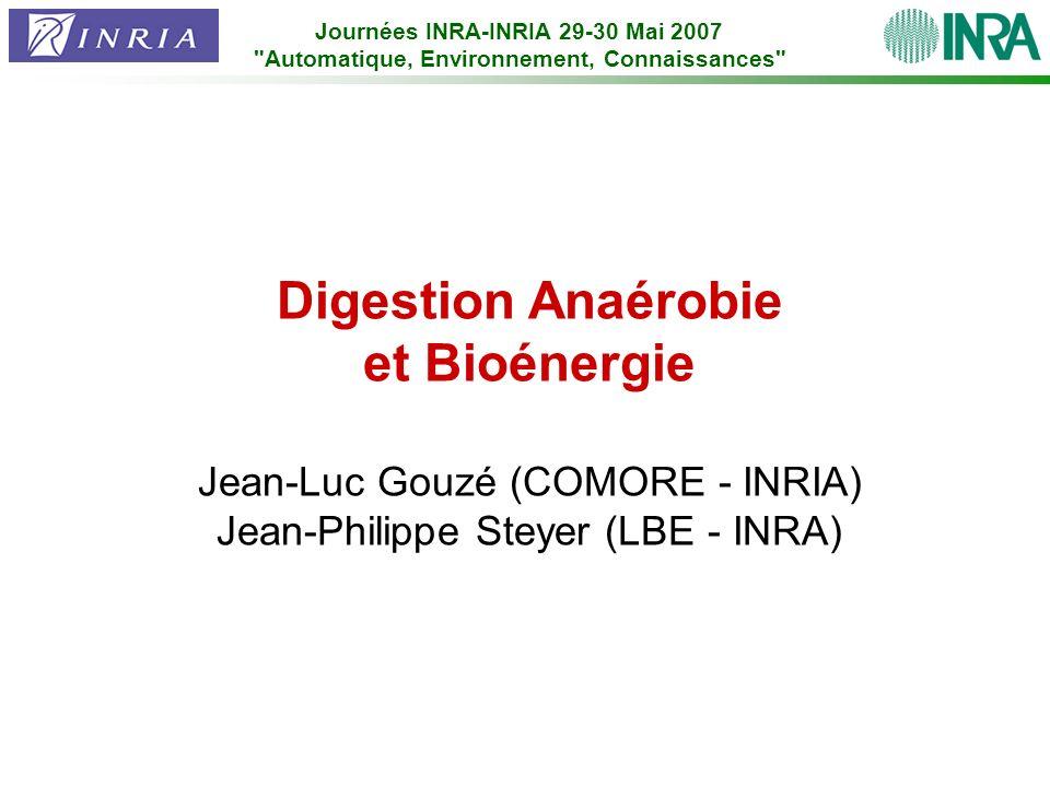 Digestion Anaérobie et Bioénergie Jean-Luc Gouzé (COMORE - INRIA) Jean-Philippe Steyer (LBE - INRA) Journées INRA-INRIA 29-30 Mai 2007
