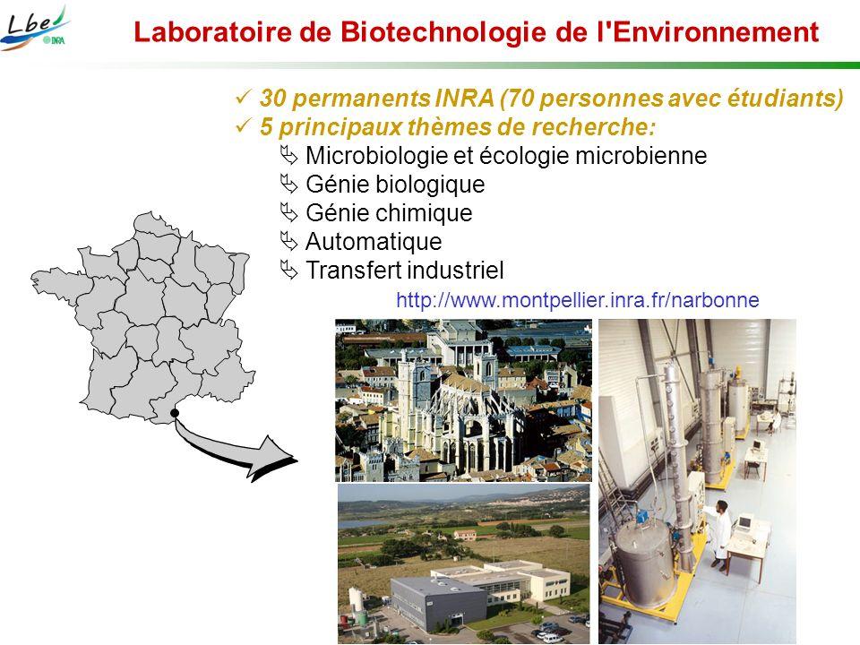 Laboratoire de Biotechnologie de l'Environnement 30 permanents INRA (70 personnes avec étudiants) 5 principaux thèmes de recherche: Microbiologie et é