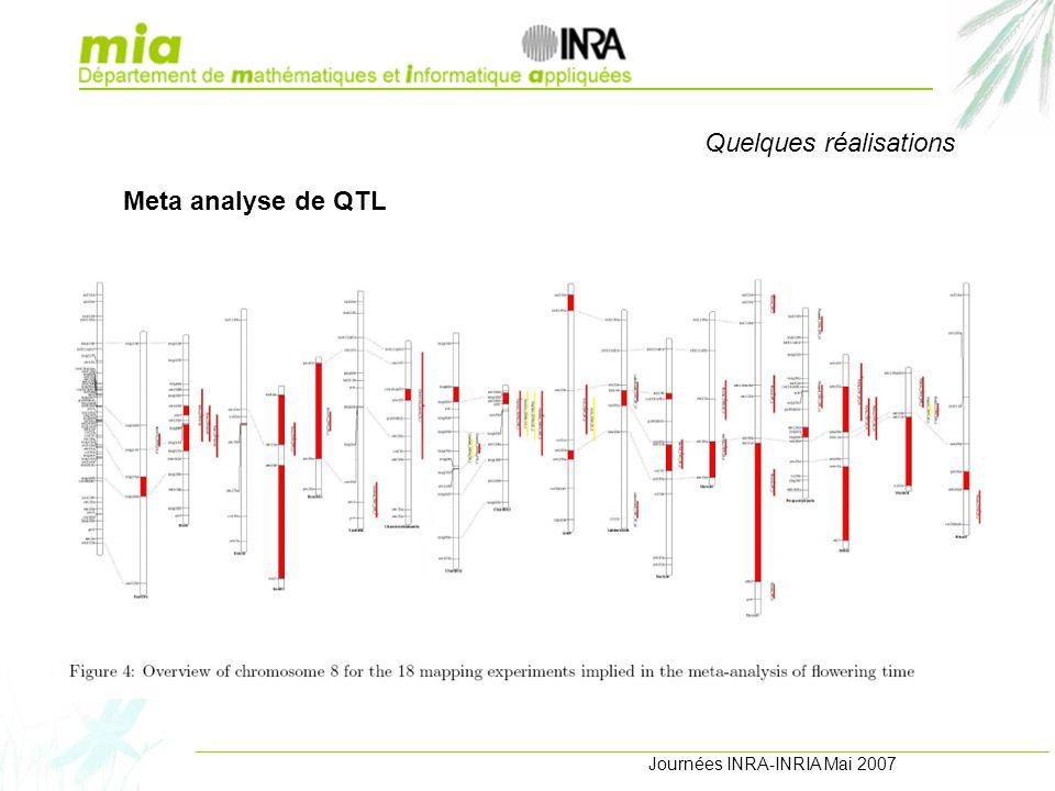 Journées INRA-INRIA Mai 2007 Quelques réalisations Meta analyse de QTL