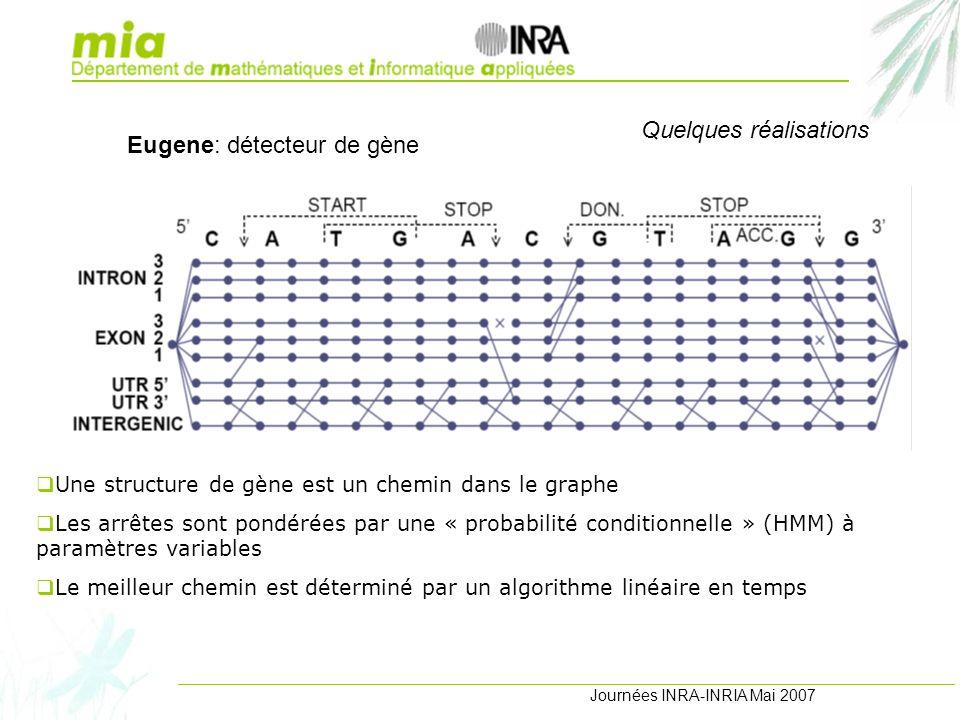 Journées INRA-INRIA Mai 2007 Quelques réalisations Une structure de gène est un chemin dans le graphe Les arrêtes sont pondérées par une « probabilité conditionnelle » (HMM) à paramètres variables Le meilleur chemin est déterminé par un algorithme linéaire en temps Eugene: détecteur de gène